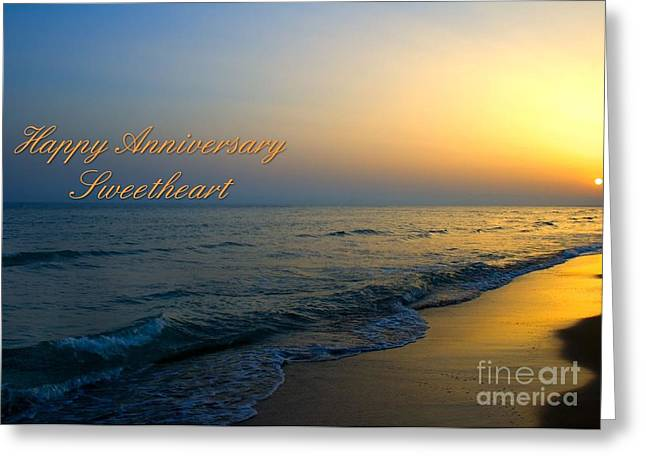 Greeting Card featuring the digital art Anniversary Sunset by JH Designs