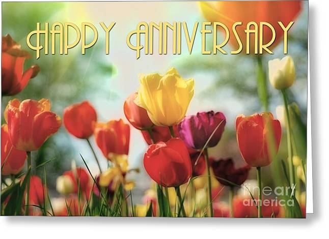 Greeting Card featuring the digital art Anniversary Tulips by JH Designs