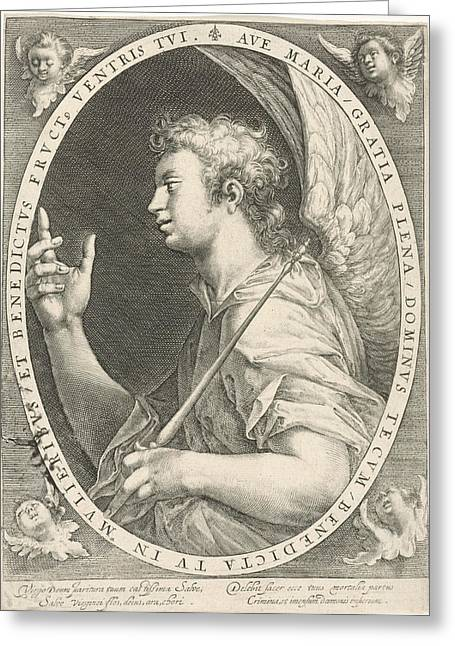 Annunciation Angel Gabriel, Crispijn Van De Passe Greeting Card