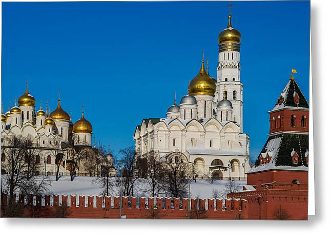 Annunciation - Archangel - Dormition Cathedrals And Ivan The Great Belfry Greeting Card by Alexander Senin