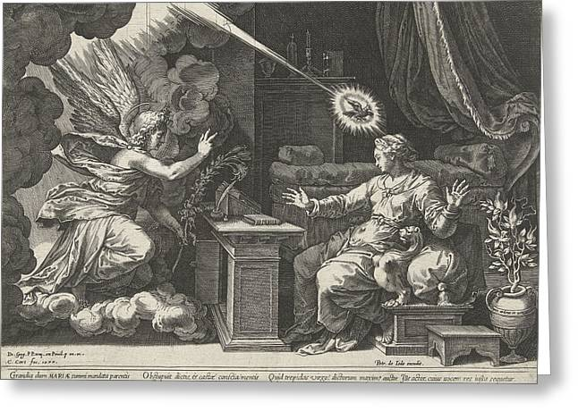 Annunciation, Cornelis Cort, Unknown, Pieter De Jode Greeting Card by Cornelis Cort And Pieter De Jode (i)
