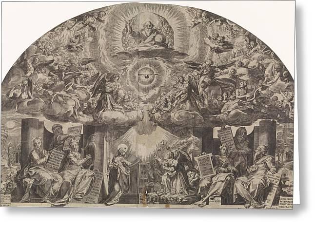 Annunciation, Paulus Mondekens, Cornelis Cort Greeting Card by Paulus Mondekens And Cornelis Cort And Federico Zuccaro