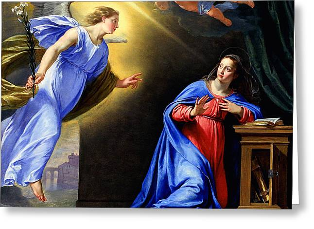 Annunciation Greeting Card by Philippe de Champaigne