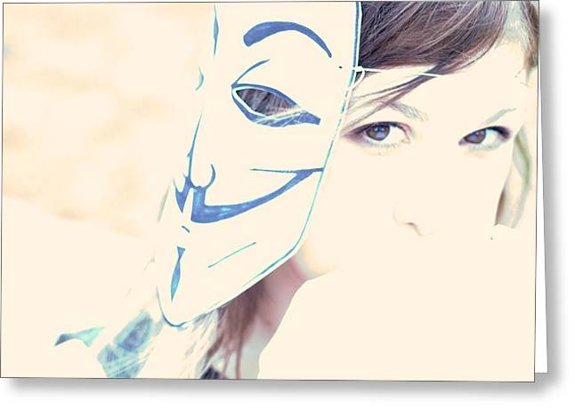 Anonymous Against Acta Greeting Card by Beatrice Murch