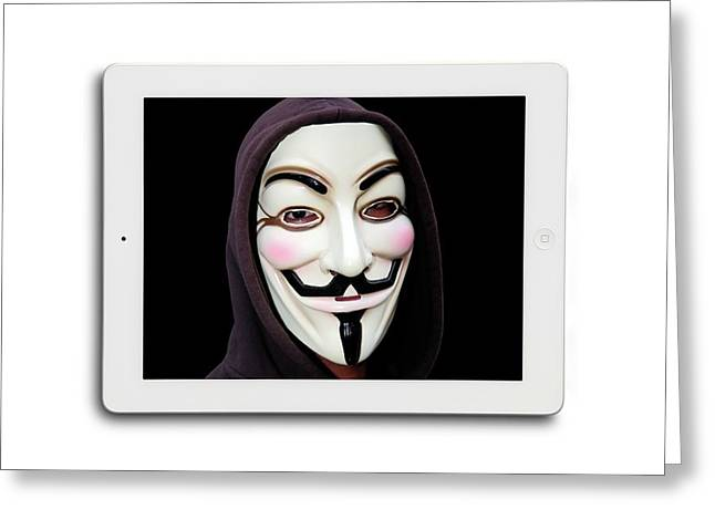 Anonymous Mask On Digital Tablet Greeting Card by Victor De Schwanberg