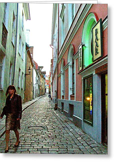 Another Narrow Street In Old Town Tallinn-estonia Greeting Card by Ruth Hager