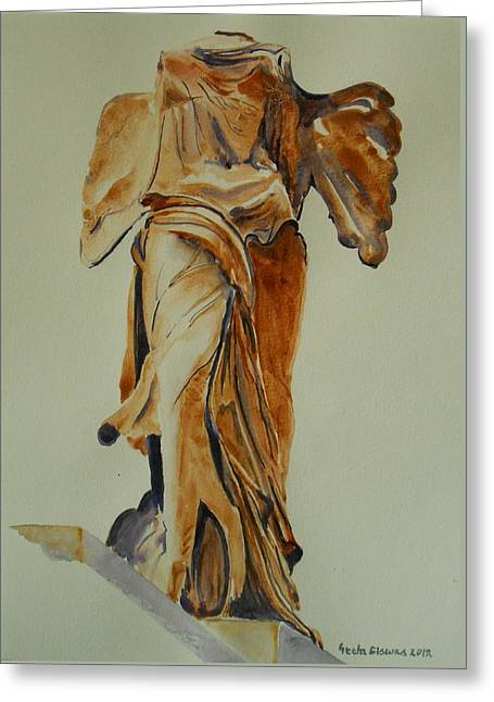 Another Perspective Of The Winged Lady Of Samothrace  Greeting Card by Geeta Biswas