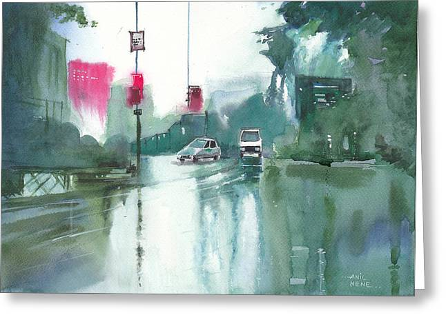 Another Rainy Day Greeting Card by Anil Nene