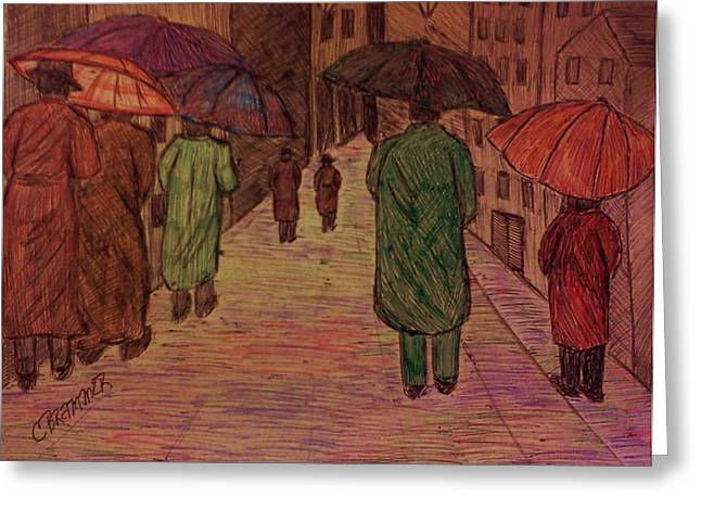 Another Walk In The Rain Greeting Card by Christy Saunders Church