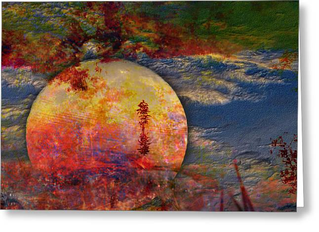 Another World Moon Abstract Greeting Card by J Larry Walker