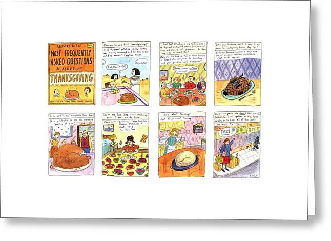 Answers To The Most Frequently Asked Questions Greeting Card by Roz Chast
