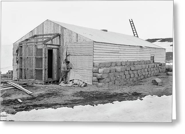 Antarctic Base Camp Construction Greeting Card by Scott Polar Research Institute