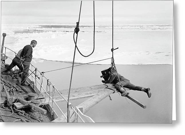 Antarctic Filming On Terra Nova Greeting Card by Scott Polar Research Institute