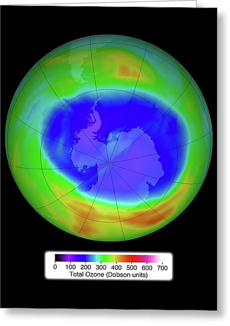 Antarctic Ozone Concentrations Greeting Card