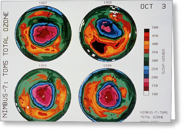 Antarctic Ozone Hole: Toms Comparison 1987-1990 Greeting Card by Nasa/science Photo Library