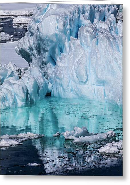 Antarctica Colorful Iceberg And Sea Ice Greeting Card by Janet Muir