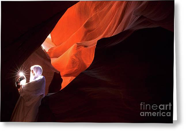 Antelope Canyon Keeper Of The Light Greeting Card by Bob Christopher