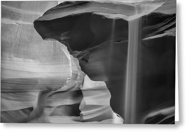 Antelope Canyon Pouring Sand Bw Greeting Card