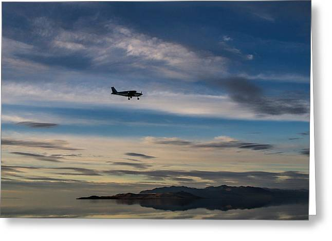 Antelope Island - Lone Airplane Greeting Card by Ely Arsha