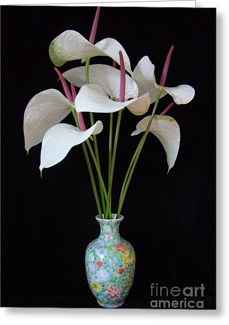 Anthurium Bouquet Greeting Card by Mary Deal