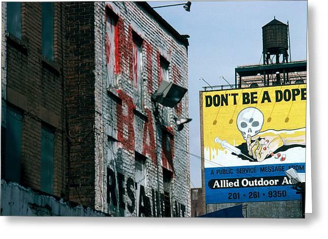 Anti-drug Billboard Greeting Card by Jan Lukas