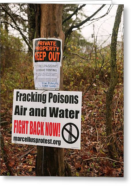 Anti-fracking Sign Greeting Card by Jim West