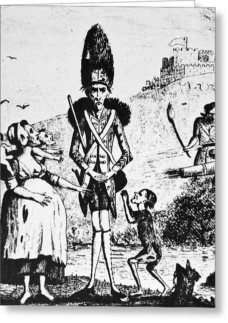 Anti-war Cartoon, 1775 Greeting Card by Granger