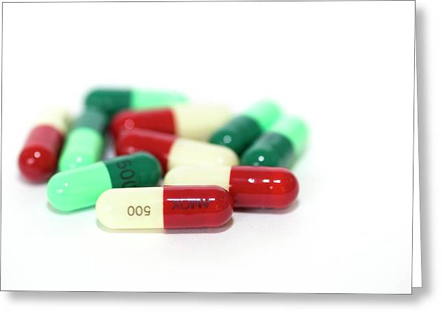 Antibiotic Drug Capsules Greeting Card by Dr P. Marazzi