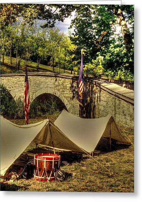 Antietam - 8th Connecticut Volunteer Infantry-a1 Encampment Near The Foot Of Burnsides Bridge Greeting Card by Michael Mazaika