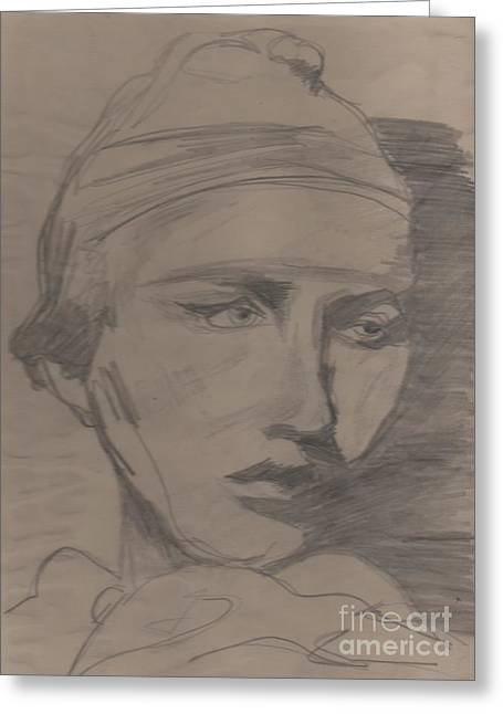 Greeting Card featuring the drawing Antigone By Jrr by First Star Art