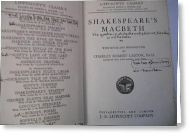 Antiqiue Shakespeare Macbeth Greeting Card by Dotti Hannum