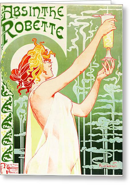 Antique Absinthe Robette Ad 3 Greeting Card by Jennifer Rondinelli Reilly - Fine Art Photography
