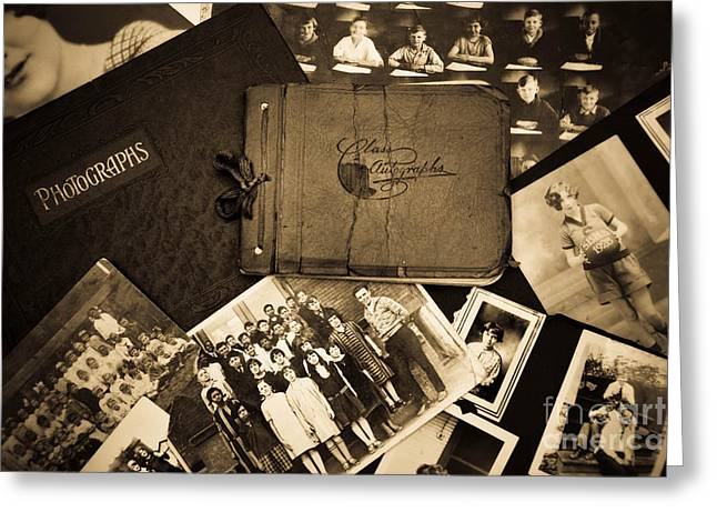 Antique Autograph And Photo Albums And Photos Greeting Card by Amy Cicconi