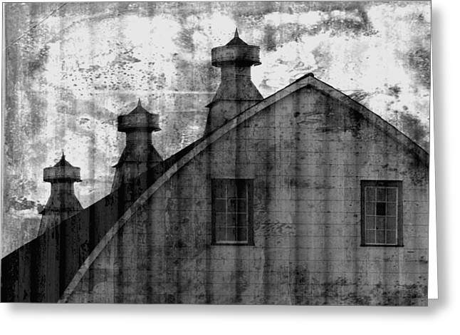Antique Barn - Black And White Greeting Card