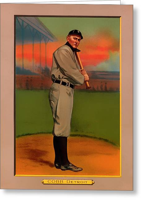 Antique Baseball Card - Ty Cobb Greeting Card by Mountain Dreams