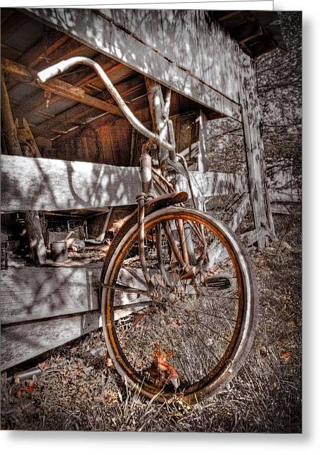 Antique Bicycle Greeting Card by Debra and Dave Vanderlaan