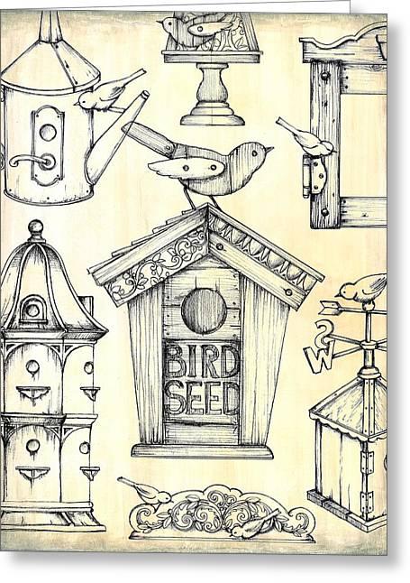 Antique Bird Boxes 1 Greeting Card