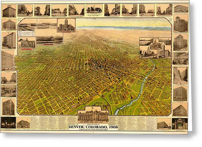 Antique Bird's-eye View Map Of Denver 1908 Greeting Card