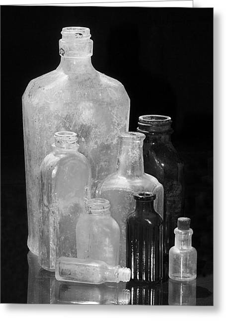 Antique Bottles 4 Black And White Greeting Card by Phyllis Denton