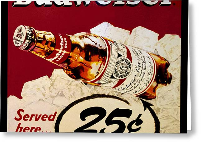 Antique Budweiser Signage Greeting Card
