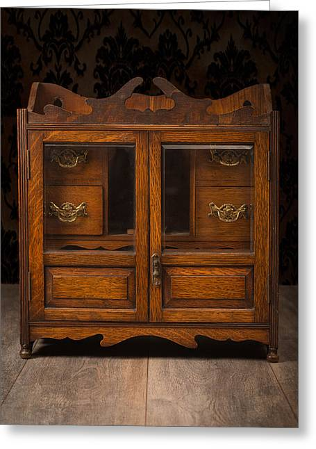 Antique Cabinet Greeting Card by Amanda Elwell