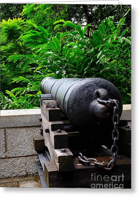 Antique Cannon Faces The Forest In Fort Canning Park Singapore Greeting Card by Imran Ahmed