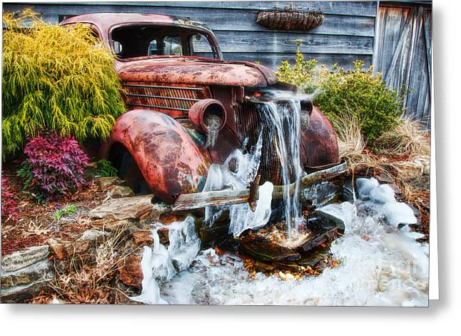 Antique Car Water Fountain Columbus Georgia Greeting Card by Vizual Studio