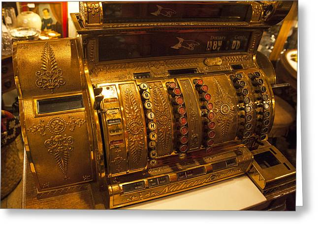 Greeting Card featuring the photograph Antique Cash Register by Jerry Cowart