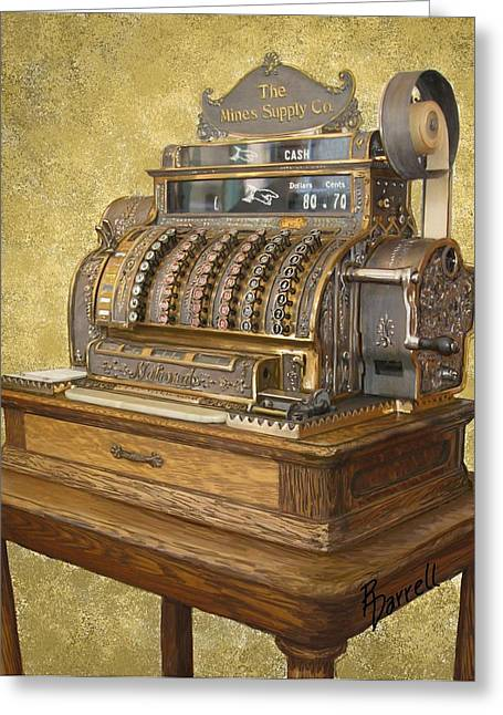 Antique Cash Register Greeting Card