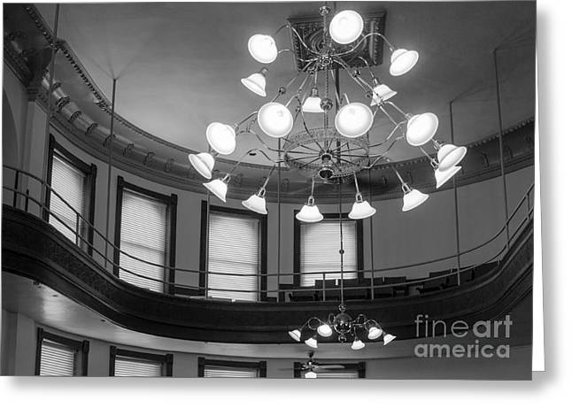 Antique Chandelier In Old Courtroom Greeting Card