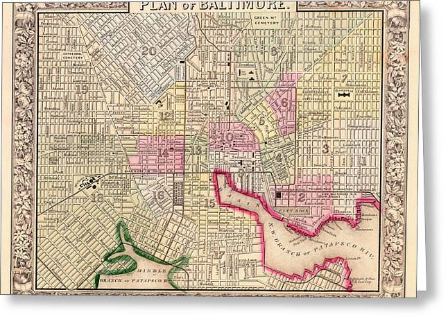 Antique City Map Of Baltimore 1864 Greeting Card by Mountain Dreams