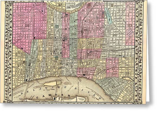 Antique City Map Of Philadelphia 1867 Greeting Card