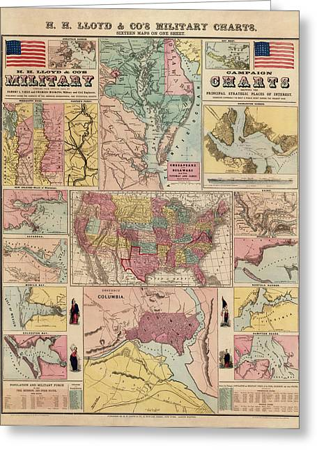 Antique Civil War Map By Egbert L. Viele - Circa 1861 Greeting Card