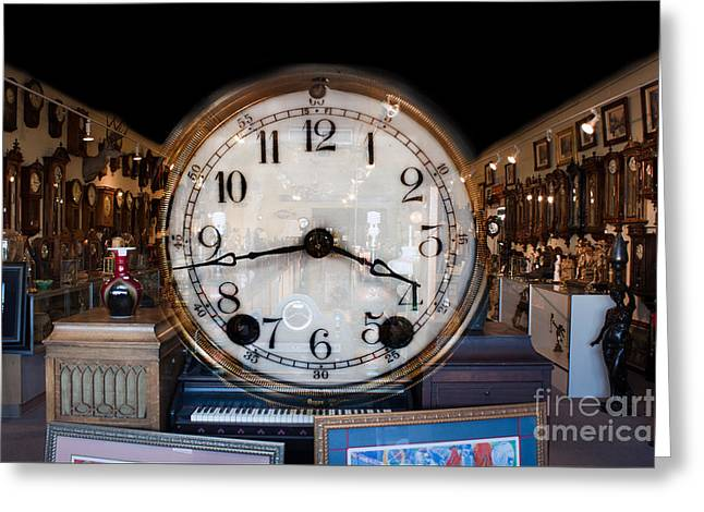 Greeting Card featuring the photograph Antique Clock Store by Gunter Nezhoda